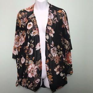 Sheer Chiffon Floral Batwing Kimono